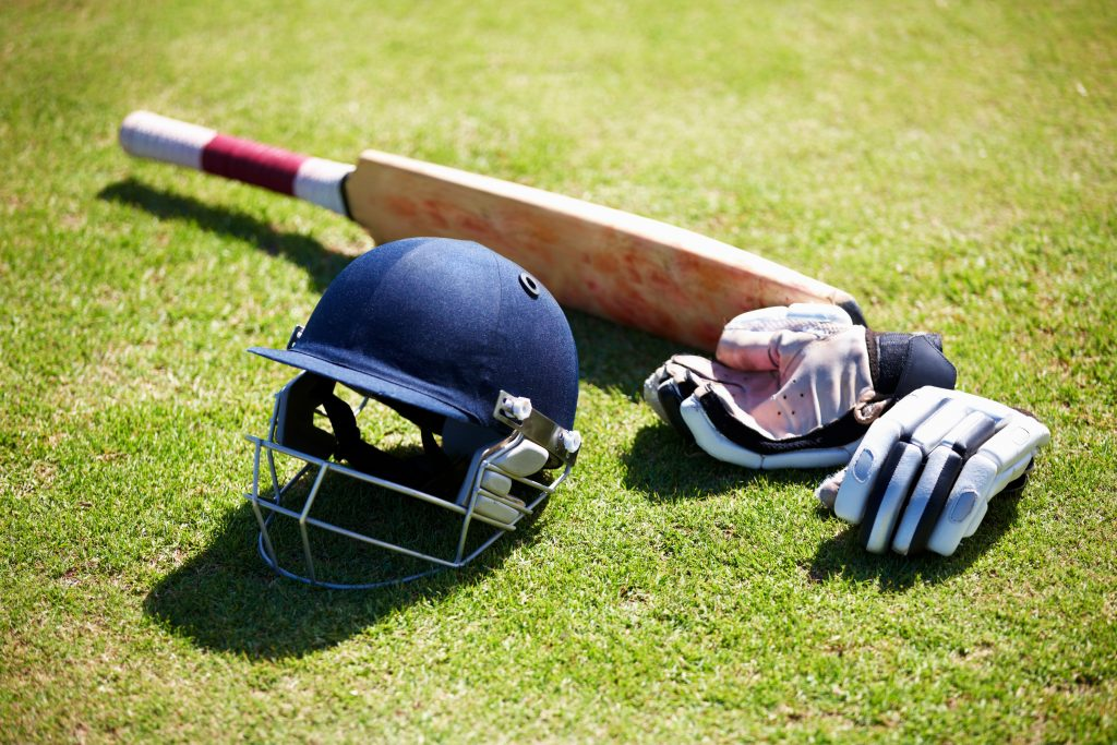 Shot of a batsman's equipment for cricket